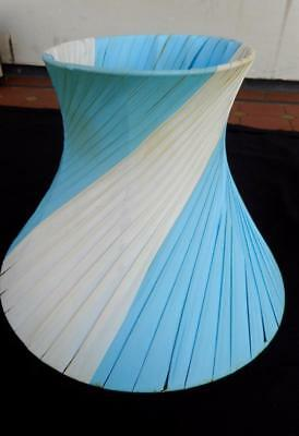 c.1960's Vintage Barsony Black Lady Lamp Shade White & Blue Striped Great Cond