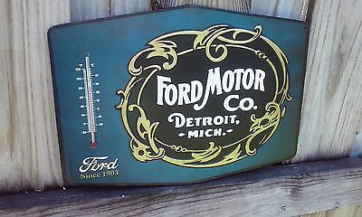Ford Motor Company Metal Thermometer Sign 13 By 10 Inches Raised Letter