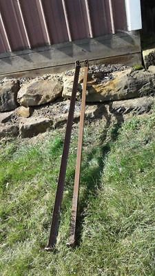 BED RAILS Square Button Tab Steel Brown 75 Inches Ends Vintage  Lot A