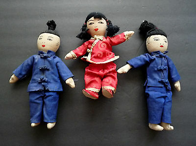 Vintage Chinese Cloth Rag Dolls Set Of 3 Fabric Asian Dolls 6 & 7 Inches  Nice!