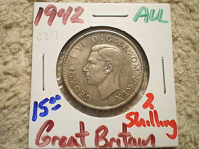 1942 Two Shillings Great Britain/ 500 Silver .1818 Asw
