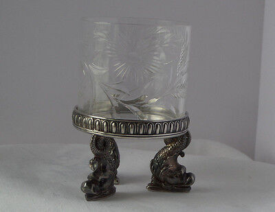 Dolphin  Footed Silver Plate Base w/ Cut Glass Holder Pairpoint  #4996