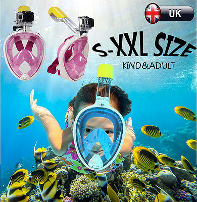 UK Breath Full Face Mask Surface Diving Snorkel Scuba Swimming Tools S-XXL