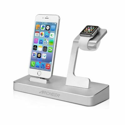 iPhone Apple Watch Charging Dock Station Stand, 2 USB Android Smartphone Charger