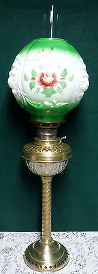 Vtg Brass Parlor Banquet Piano GWTW Oil Lamp Hand Painted Lion Head Globe Shade
