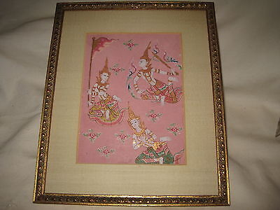 "Thai Siam Manuscript Painting 5"" x 6.5"" Excellent Condition 3 Figures Pink Paper"
