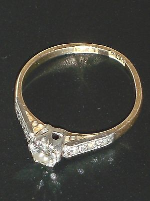 ANTIQUE 18CT 750 SOLID GOLD & PLATINUM 7 DIAMOND WEDDING SOLITAIRE RING - Size N