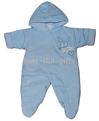 Baby Boys Sky Blue All in One Lightly Padded Pram Suit Newborn 5-8lbs
