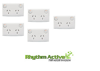 Clipsal 25D 5-Pack Twin Switched Outlet Power Wall Socket Double Pole 10A/240
