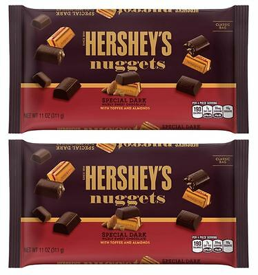 911345 2 x 340g BAGS OF HERSHEYS NUGGETS SPECIAL DARK CHOCOLATE WITH ALMONDS