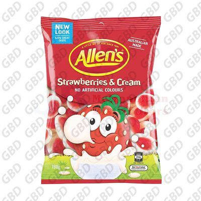 ALLENS STRAWBERRY CREAM BAG 190G (x12)