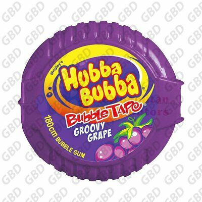 HUBBA BUBBA BUBBLE GUM TAPE GRAPE (x12)