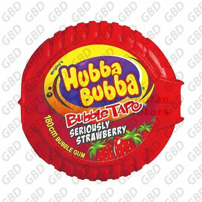 HUBBA BUBBA BUBBLE GUM TAPE STRAWBERRY (x12)