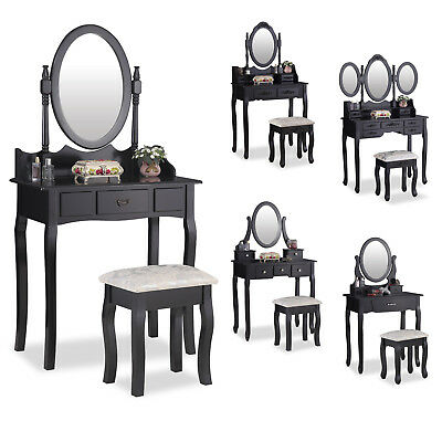 Black Vanity Makeup Dressing Table Set Desk With Oval Mirror, Drawers and Stool