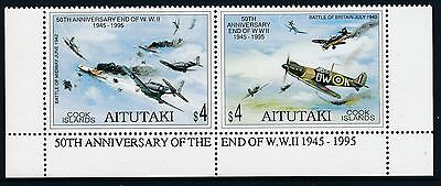 1995 AITUTAKI 50th ANNIVERSARY END OF WORLD WAR II  SET OF 2 FINE MINT MNH/MUH
