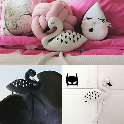 Soft Long Legs Black and White Swan Toy Pillow Seat Cushion Baby Stroller Decor