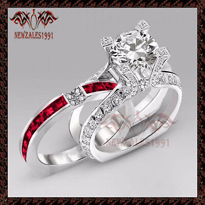 2CT Round-Cut Diamond Solitaire Bridal Set Engagement Ring 10k White Gold Finish