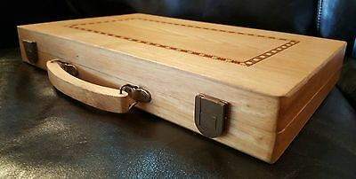 Hand made blonde wood backgammon set with inlaid box, carved handle