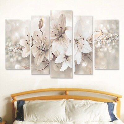 5Pcs Abstract Flowers Canvas Print Painting Wall Pictures Modern Home Art Decor