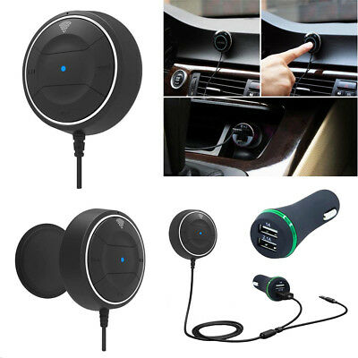 Bluetooth Wireless Audio Receiver Stereo Music Car Adapter 3.5mm AUX+USB Charger