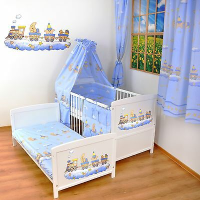 NEW WHITE 2in1 COT-BED 120x60 -TRAIN - 12 PIECE BEDDING - MATTRESS FREE