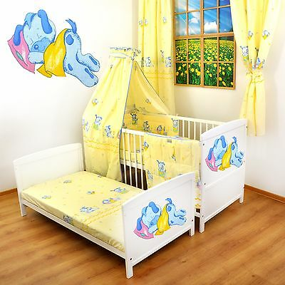 NEW WHITE 2in1 COT-BED 120x60 SLEPPING RABBIT  -12 PIECE BEDDING - MATTRESS FREE