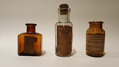 Medical/Pharmaceutical Bottles (circa 1910): Group of 3