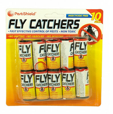 10 Pack Insect Catchers Killer Tape Strip Pest Wasp Bug Window Fly Poison Free