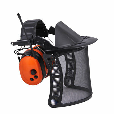 Forestry Safety Helmet Hard Hat Mesh Face Visor Ear Protectors with FM Radio