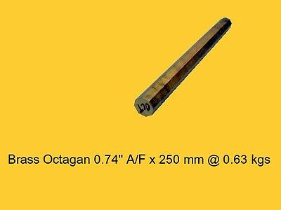 "Brass Octagon 0.74"" A/F x 250  mm-Lathe-Steam-Mill-OG"