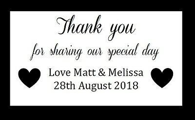 130 Custom Personalised Thank You Wedding Stickers, Labels