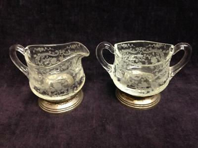 Chantilly Creamer And Sugar Bowl Sterling Silver Glass Sheffield Silver Co 1940