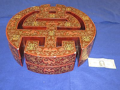 """Chinese Antique Reticulated Marriage Box Red Lacquer 20"""" Dia Gilt Design"""