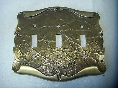 Vintage AMEROCK CARRIAGE HOUSE Triple Switch Plate Toggle Cover Antique Brass