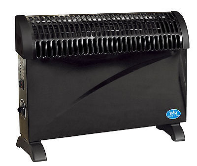 Black 2kW Floor Standing & Wall Mounted Home Office Convector Radiator Heater