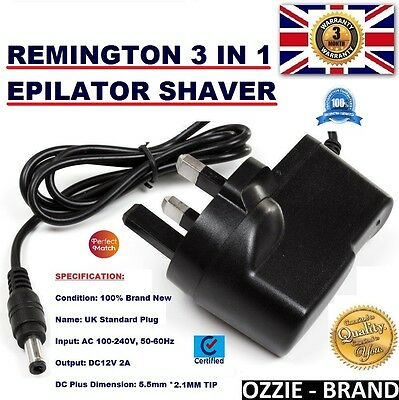 Uk 12V Ac/dc Power Supply Adapter Charger For Remington 3 In 1 Epilator Shaver