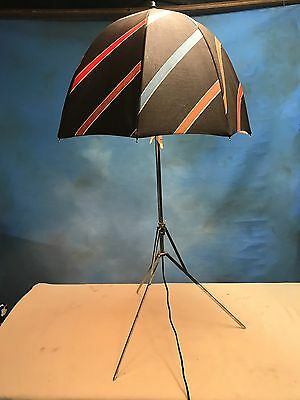 Vintage 1970's Light On Tripod Stand Nylon Umbrella Brown