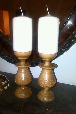 Solid wood pillar antique hand carved turned candlesticks