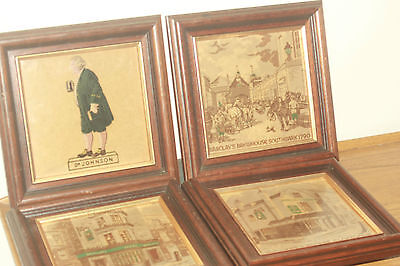 Antique British School Four Hand Painted And Framed Tiles