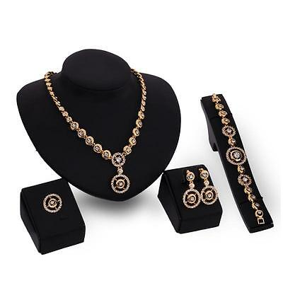 Elegant Women 18K Gold Plated Crystal Round Necklace Ring Earrings Jewelry Set
