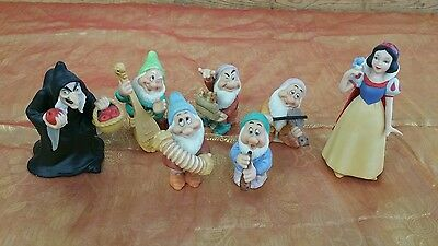 DISNEY SNOW WHITE  and DWARVES CERAMIC PORCELAIN  FIGURE LOT OLD WITCH