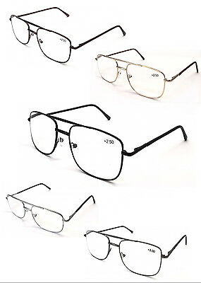 L17 Classic Double Bridge Metal Spectacle Reading Glasses/Spring Hinge/Easy Read