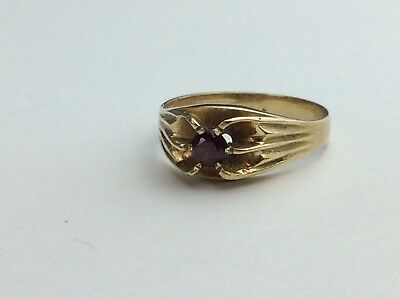 GENTS 9CT GOLD Signet Ring With Red Stone Size X Ship Worldwide