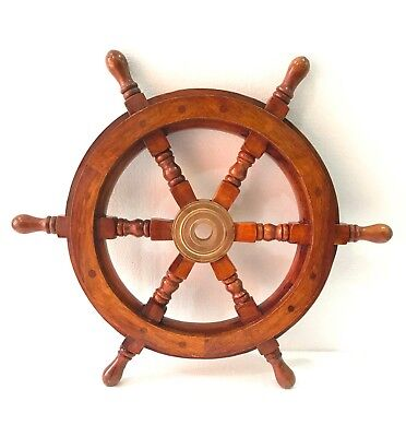 "18"" Ship Wheel Wooden Brass: Pirate Boat Nautical Fishing New"
