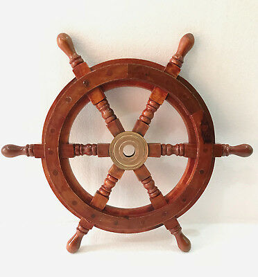 "Superior Sheesham Wood and Brass Ship Wheel 16"" Wall Decor"