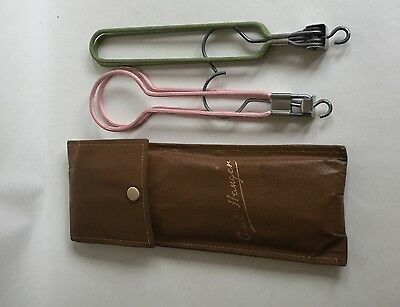 Pair Vintage Folding Coat Hangers In Tan Faux Leather Case Travel Collectibles