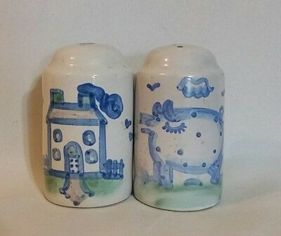 M A Hadley Whimsical Folk Art Country pig House Salt Pepper Shakers USA