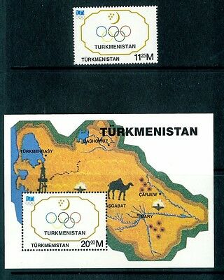 Turkmenistan 1994 Michel-Nr. 47 + Block 5 Olympic Games IOC Postfrisch ** MNH