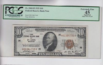 1929 $10 Ten Dollar Bill National Currency Brown Seal Note - PCGS Graded EF 45