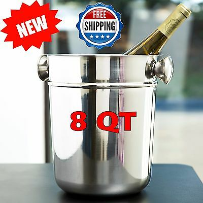8 Qt Stainless Steel Beer Soda Champagne Bucket Cooler New Year Christmas Party